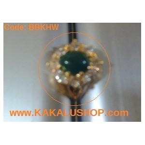 Cincin Batu Bacan Hijau Kristal Tembus Cahaya
