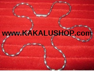 Kalung Besi Putih Model Biji Padi Asli Morotai