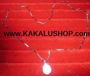 Kalung Besi Putih Model Patah-Patah Berliontin Asli Morotai